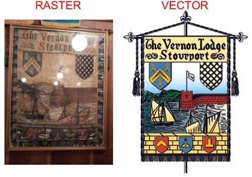 Example of redrawing an image of a crest to a vector