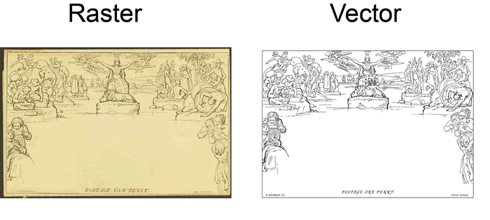 An example of a very detailed image (scan) converted to a vector